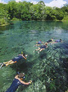 People swimming in the river city of Bonito, Mato Grosso do Sul
