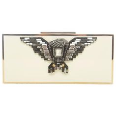 Preowned Alber Elbaz For Lanvin Swarovski Crystal Embellished Eagle... ($1,400) ❤ liked on Polyvore featuring bags, handbags, clutches, beige, clear clutches, summer handbags, summer clutches, embellished handbags and white handbags