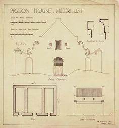 "Plan and elevations of the pigeon house at the Meerlust homestead. Measured by Rex Martienssen and drawn by John Fassler for prof. Geoffrey Pearse's book ""Eighteenth Century Architecture in South Africa"" – see Plate 71 for the drawing, and pages 44-45 for a description. The hybrid gable appears to be a straight gable embellished with Baroque scrolls."