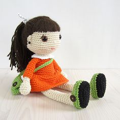 Girl In A Dress With A Messenger Bag Amigurumi Pattern