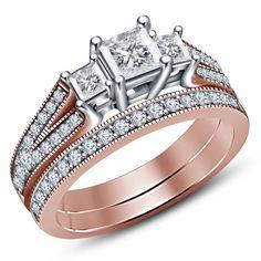 Three Stone 5MM Princess Diamond 14K Rose Gold Finish Bridal Ring Set 1.82 Carat #Aonedesigns