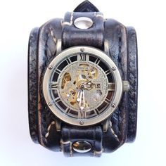Mens Steampunk Watch Leather Bracelet Black by loversbracelets
