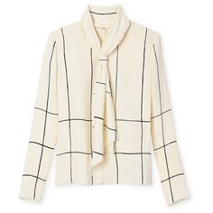Tory Burch Silk Bow Top ($395) ❤ liked on Polyvore featuring tops, blouses, vintage silk blouse, bow top, bow blouse, loose blouse and white tie blouse