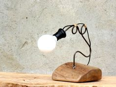 Wooden handcrafted lamp. Desk work lamp. Solid wood lamp. Walnut lamp. Stylized steel rod lamp.Night lamp.