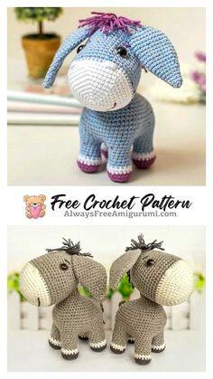 Crochet Amigurumi Free Patterns, Crochet Animal Patterns, Stuffed Animal Patterns, Free Crochet, Crochet Animals, Cute Donkey, Kawaii Crochet, Crochet Projects, Crochet Horse
