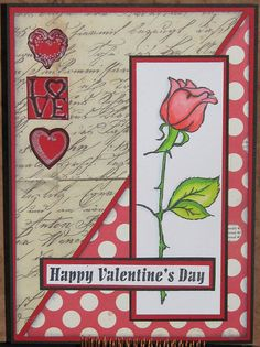 Rose Valentine's Card - Just For Fun Rubber Stamps
