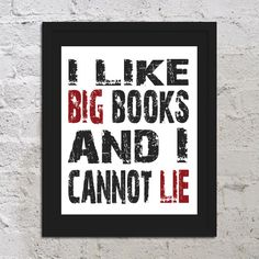 I Like Big Books And I Cannot Lie Funny Inspirational Art Print Poster 11x17 Saying Quote Picture Typography Office School College