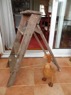 All Original Vintage 1950s–1960s Flat Folding A Frame Step Ladder Traditional All Wooden Construction Solid- Cleaned and Ready to go by VintageFoggy on Etsy