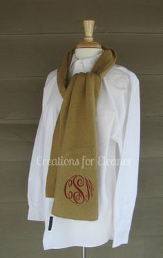Monogrammed Knit Scarf