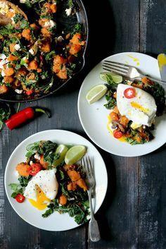 sweet potato hash with kale & eggs