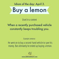 Buy a Lemon English Vocabulary Words, Learn English Words, English Phrases, English Idioms, English Grammar, English Lessons, Slang Phrases, Idioms And Phrases, Writing Words