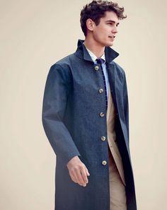 #長版 #man J.Crew men's Mackintosh Laggan half-trench coat in chambray. To preorder call 800 261 7422 or email verypersonalstylist@jcrew.com.