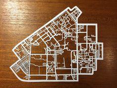 Vanderbilt University Campus, hand cut paper map by CUT designs Paper Cutting, Cut Paper, Paper Art, Paper Crafts, Vanderbilt University, Custom Mats, Fun Shots, Freshman Year, Urban Planning