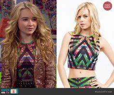 Maya's tropical print crop top on Girl Meets World.  Outfit Details: http://wornontv.net/47337/ #GirlMeetsWorld