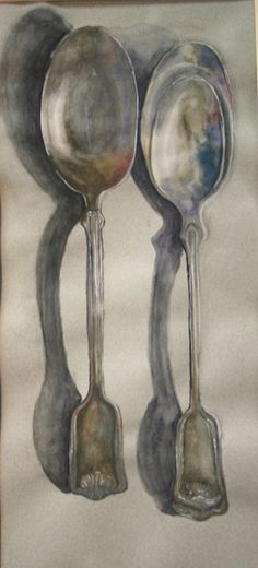 Spooning in Watercolor  by Courtney Lewis