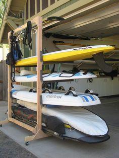 Best Surfboard rack ideas on Kayak Storage Rack, Kayak Rack, Garage Storage, Diy Storage, Storage Ideas, Storage Room, Surfboard Storage, Surfboard Rack, Skateboard Rack