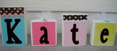Decorative wood block letter name using 4 by jennaevesblocks, $20.00