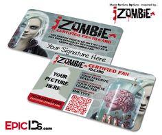 iZombie TV Series Inspired Certified Fan ID Card - Photo Personalized