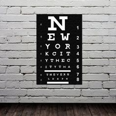 Need for our new NYC place!  Eye Chart - New York City Poster - Typography Print - Modern Home Decor - City Map - Quote Art - Gift -11x17. $20.00, via Etsy.