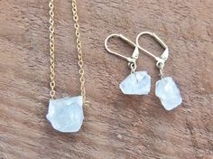 Raw Clear Crystal Nugget Necklace  Earrings Raw by MysticTortoise