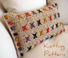 Cranberry Kisses Cushion Pillow Cover Knitting Pattern This knitting pattern uses chunky yarn and lacy patterns to form a fabric for the cross stitches. One side uses a single. Knitting Projects, Crochet Projects, Knitting Patterns, Crochet Patterns, Pillow Patterns, Pillow Ideas, Crochet Chain, Knit Crochet, Double Pointed Knitting Needles