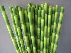 20 Green Bamboo Paper Drinking Straws Jungle Party Tiki Paper Straw Jungle Theme | eBay