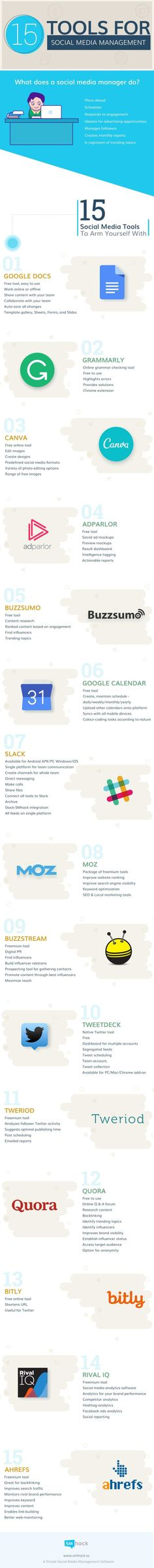 Infographic: 15 tools to simplify social media managers' jobs -- These maestros of the digital ecosystem have their hands full, so a little help can go a long way. Try these handy assistants for maintaining sanity and boosting productivity. Facebook Marketing, Inbound Marketing, Marketing Tools, Marketing Digital, Online Marketing, Social Media Marketing, Content Marketing, Marketing Strategies, Business Marketing