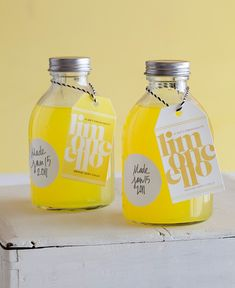 Homemade limoncello favors