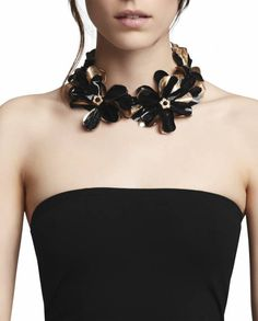 black and gold floral statement collar for women  Anne Fontaine