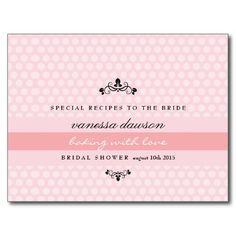 Elegant French Pink Bridal Shower Recipe Card Postcards