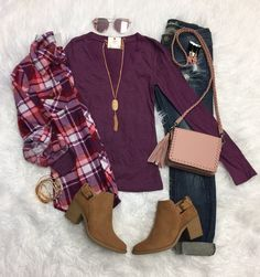 Long Sleeve Basic V-Neck Tee: Plum from privityboutique