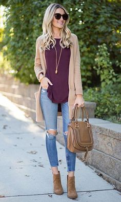 Fall cardigan outfit my style outfits cardigan outfits fall. Fashion Mode, Look Fashion, Autumn Fashion, Fashion Trends, Fashion Lookbook, Fashion Styles, Fashion Tips, Casual Fall Outfits, Fall Winter Outfits