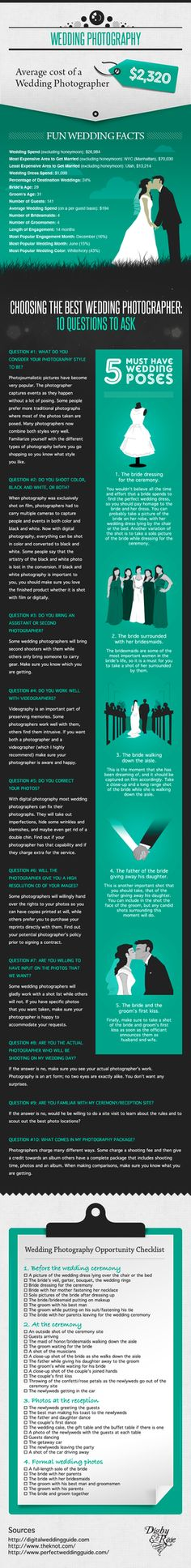 ★♥★ Complete #Guide to Choosing and hiring a Wedding #Photographer ★♥★ A great #infographic for all the #brides who want a guide to choosing a  wedding photographer. Includes top 10 questions you NEED to ask! #love  #bride #groom #tips #tricks #wedding #RSVP #proposal #internet #web  #media #network #App #gallery #Lifestyle