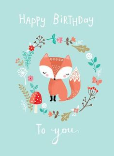 las-woodland-fox-butterfly-mushroom-flowers-happy-birthday