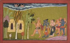 An Illustration to the Shangri Ramayana. Opaque pigment on paper, India, Bahu or Mandi
