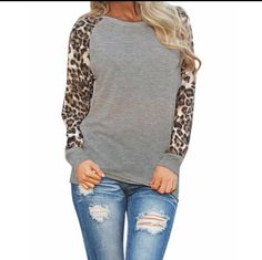 grey animal print raglan top women's #leopard