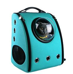 U-pet Bubble Pet Travel Backpack Turquoise. This may be the perfect cat carrier for my curious little guy who hates being confined.