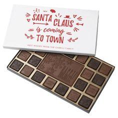 Sweet Fun Santa Claus is coming to town Script 45 Piece Box Of Chocolates - Xmas ChristmasEve Christmas Eve Christmas merry xmas family kids gifts holidays Santa