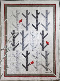 White Birches quilt, stunning with the cardinals