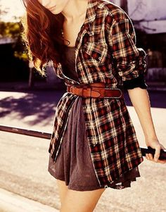 Another pinner said: Plaid Layers. I'm thinking an oversized man's shirt, a cute belt and my favorite summer dress...oh yes!