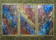 Karyl Bennett  Triptych in Blue   Multi Media  H 32in x W 44in x D 4.5in