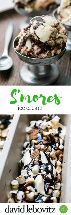 A delicious S'mores ice cream recipe from David Lebovitz, author of The Perfect Scoop, layered with toasted marshmallows, cookie crumbs and fudge ripple!