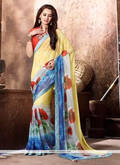This pretty piece is a fairy tale that begins to unfold as you reveal your beauty in it. Be your own style diva with this multi colour georgette printed saree. The print work looks chic and perfect fo...