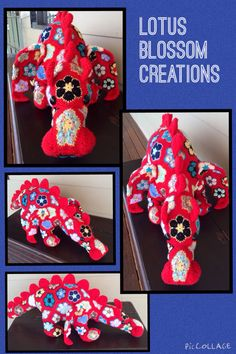 African flower motif, crotchet dragon using Heidi Bears pattern. Crochet African Flowers, Crochet Flowers, Crochet Animals, Crochet Toys, Flower Patterns, Crochet Patterns, Flower Granny Square, Crochet Accessories, Stuffed Toys Patterns