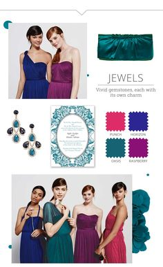 Looking for ideas on how to mix up bridal party dresses and still look great? Check out David's Bridal Mix & Match bridesmaid dresses guide and let them shine in different styles, colors, or shades! Bridesmaid Dresses Different Colors, Jewel Tone Bridesmaid, Mix Match Bridesmaids, Fall Wedding Bridesmaids, Jewel Tone Wedding, Mismatched Bridesmaid Dresses, Bridesmaid Dress Styles, Wedding Dresses, November Wedding Colors
