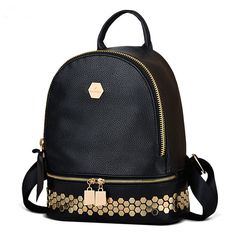 Lock Rivet Women Backpack High Quality PU Leather Mochila Escolar School  Bags Girls Top-handle Backpacks Herald Fashion 7a1206927cc6e