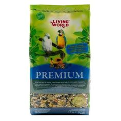 Hagen Living World Large Parrot Premium Seed Food 1.7Kg  Sumptuous seed mix with fruits, vegetables and Tropican Granules.Provides your Parrot with a good balanced diet offering plenty of different tastes and textures for an interesting meal your bird loves to spend time eating.