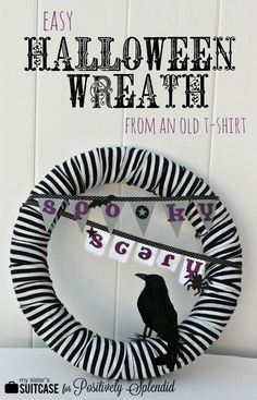 Halloween T-Shirt Wreath | Positively Splendid {Crafts, Sewing, Recipes and Home Decor} #diyhalloween #halloweendecor