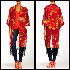 """Kimono Long Cardigan Boho Cardi Wrap Coat  NEW WITH TAGS   Kimono Long Cardigan Cape Wrap Cardi Tassel Fringe Trim  Retail Price: $155   * Chiffon fabric w/ beautiful boho floral print  * A longer length & lightweight for layering; Relaxed fit   * Wide 3/4 length kimono sleeves & knotted tassel fringe hem  * About 42"""" long & 7"""" of fringe  * Open front style Fabric: 100% Polyester; Made in the USA Color: Red Wine & Black Combo Item:   No Trades ✅ Offers Considered*✅  *Please use the blue…"""