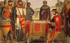 King John signing the Magna Carta. This illustration looks like it's from a Victorian/Edwardian schoolbook.